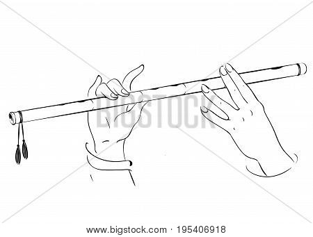 Drawing of hands playing on flute. Lord Krishna vector illustration for Happy Janmashtami annual Hindu festival greetings.