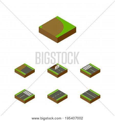 Isometric Way Set Of Footer, Strip, Driveway And Other Vector Objects. Also Includes Road, Flat, Rotation Elements.