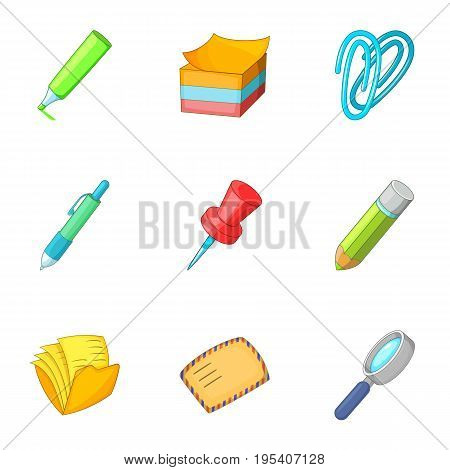 Stationery icons set. Cartoon set of 9 stationery vector icons for web isolated on white background