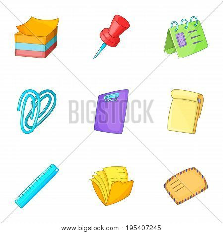 Post stationery icons set. Cartoon set of 9 post stationery vector icons for web isolated on white background