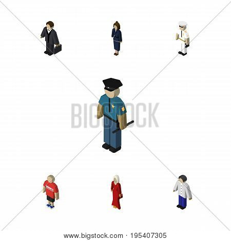 Isometric People Set Of Officer, Guy, Seaman And Other Vector Objects. Also Includes Human, Mariner, Policeman Elements.