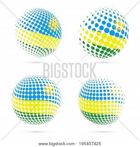 Rwanda Halftone Flag Set Patriotic Vector Design. 3D Halftone Sphere In Rwanda National Flag Colors