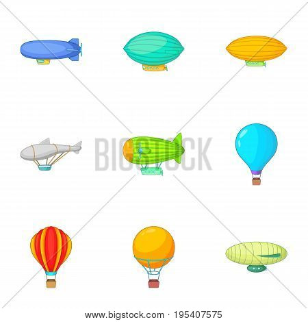Old air transport icons set. Cartoon set of 9 old air transport vector icons for web isolated on white background