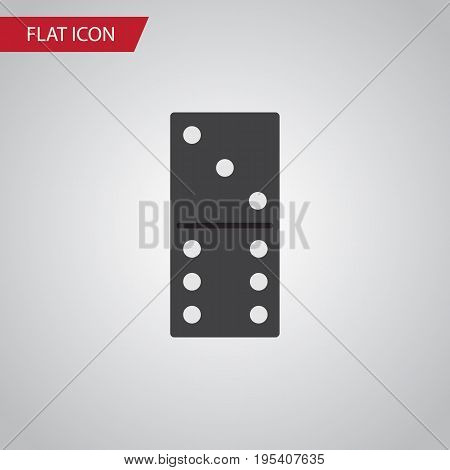 Isolated Domino Flat Icon. Bones Game Vector Element Can Be Used For Domino, Bones, Game Design Concept.