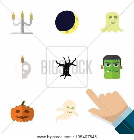 Flat Icon Halloween Set Of Cranium, Candlestick, Gourd Vector Objects. Also Includes Candelabrum, Spirit, Specter Elements.