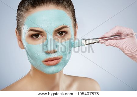 Beautiful Girl With Nude Make Up Doing Cosmetic Procedure