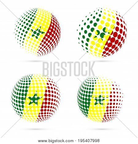 Senegal Halftone Flag Set Patriotic Vector Design. 3D Halftone Sphere In Senegal National Flag Color