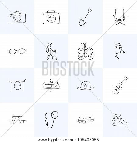 Set Of 16 Editable Travel Icons. Includes Symbols Such As Camper, Shovel, Photographing And More. Can Be Used For Web, Mobile, UI And Infographic Design.