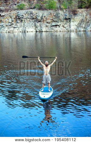 Sup Bearded Man Yoga Meditation 03