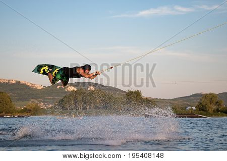 Rider Wakeboarding In The Cable Wake Park Merkur