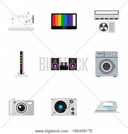 Set Of 9 Editable Tech Icons. Includes Symbols Such As Laundromat, Appliance, Camera And More. Can Be Used For Web, Mobile, UI And Infographic Design.