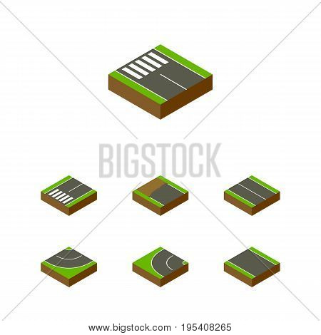 Isometric Road Set Of Way, Road, Flat And Other Vector Objects. Also Includes Flat, Unilateral, Plane Elements.
