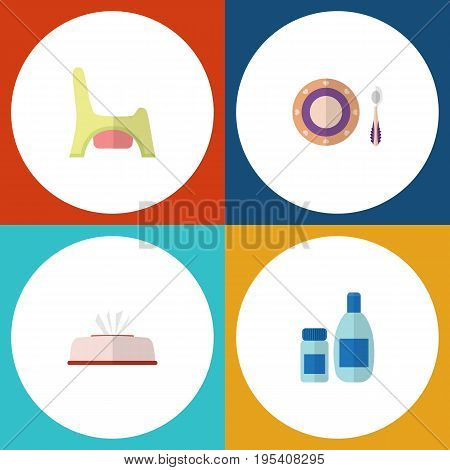 Flat Icon Child Set Of Toilet, Baby Plate, Tissue And Other Vector Objects. Also Includes Tissue, Child, Napkin Elements.