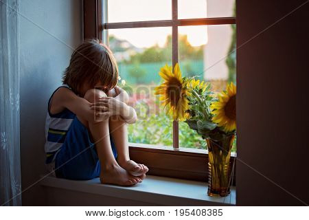 Sad Cute Little Toddler Child, Sitting On A Window, Playing With Sunflower