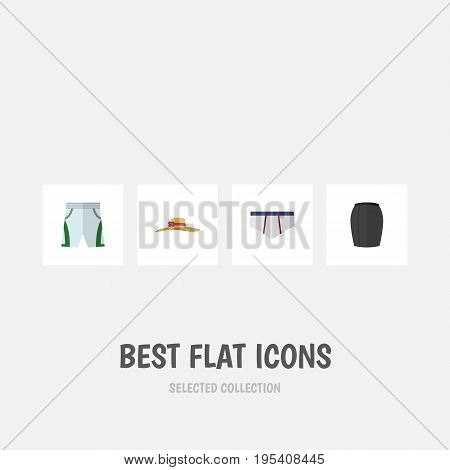 Flat Icon Dress Set Of Underclothes, Stylish Apparel, Trunks Cloth And Other Vector Objects. Also Includes Apparel, Headgear, Underclothes Elements.