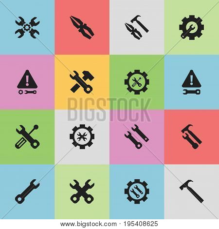 Set Of 16 Editable Tool Icons. Includes Symbols Such As Technical Support, Wrench Repair, Screwdriver Wrench And More. Can Be Used For Web, Mobile, UI And Infographic Design.