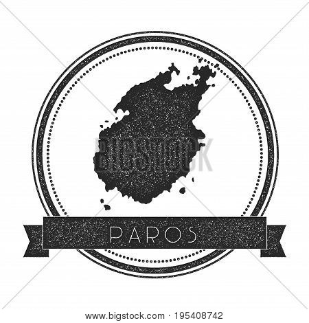 Paros Map Stamp. Retro Distressed Insignia. Hipster Round Badge With Text Banner. Island Vector Illu