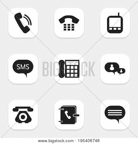 Set Of 9 Editable Phone Icons. Includes Symbols Such As Address Notebook, Forum, Transceiver And More. Can Be Used For Web, Mobile, UI And Infographic Design.