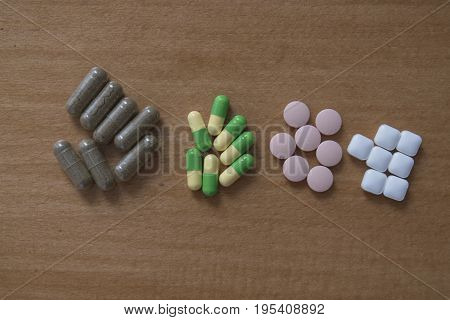 Drug pills in various shape and sizes on wooded table space for text