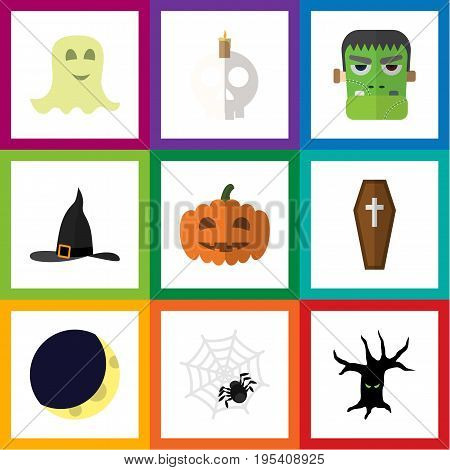 Flat Icon Celebrate Set Of Casket, Terrible Halloween, Crescent And Other Vector Objects. Also Includes Arachnid, Coffin, Cobweb Elements.
