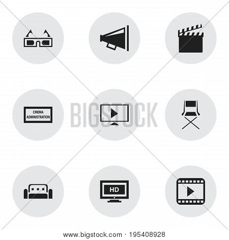 Set Of 9 Editable Filming Icons. Includes Symbols Such As Loudspeaker, Couch, Chair And More. Can Be Used For Web, Mobile, UI And Infographic Design.