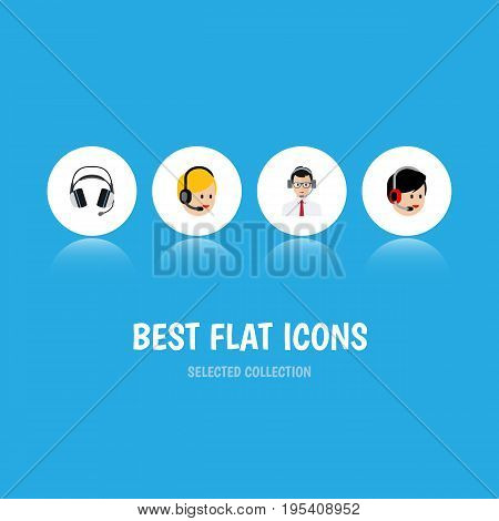 Flat Icon Center Set Of Help, Earphone, Operator And Other Vector Objects. Also Includes Earphone, Operator, Call Elements.