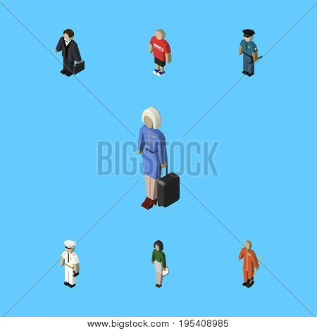 Isometric Human Set Of Seaman, Cleaner, Hostess And Other Vector Objects. Also Includes Investor, Builder, Hostess Elements.