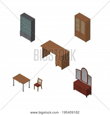 Isometric Furnishing Set Of Sideboard, Cabinet, Drawer And Other Vector Objects. Also Includes Cupboard, Table, Desk Elements.