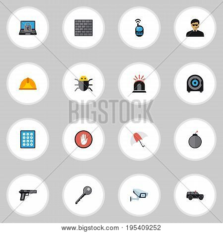 Set Of 16 Editable Procuring Icons. Includes Symbols Such As Dynamite, Hatchback, Virus And More. Can Be Used For Web, Mobile, UI And Infographic Design.