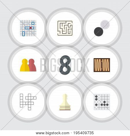 Flat Icon Play Set Of Guess, Gomoku, Labyrinth And Other Vector Objects. Also Includes Battle, Chequer, Renju Elements.