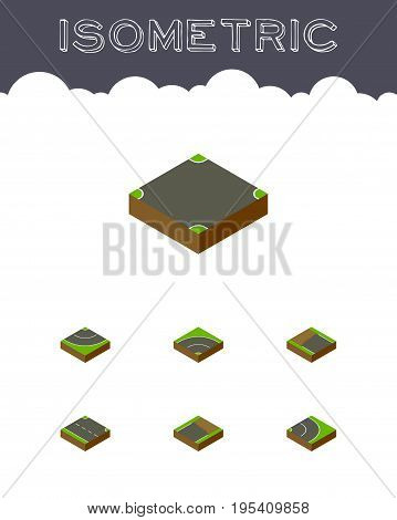 Isometric Road Set Of Road, Unfinished, Bitumen And Other Vector Objects. Also Includes Asphalt, Intersection, Incomplete Elements.