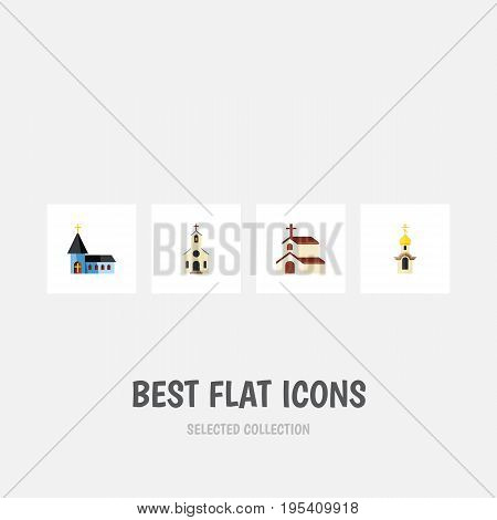 Flat Icon Building Set Of Structure, Christian, Building And Other Vector Objects. Also Includes Building, Religion, Faith Elements.