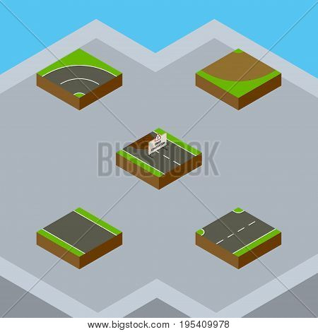 Isometric Road Set Of Bitumen, Turn, Without Strip And Other Vector Objects. Also Includes Strip, Construction, Bitumen Elements.