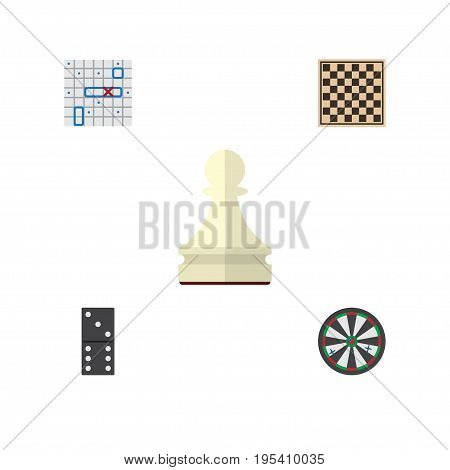 Flat Icon Games Set Of Pawn, Bones Game, Arrow And Other Vector Objects. Also Includes Domino, Game, Table Elements.