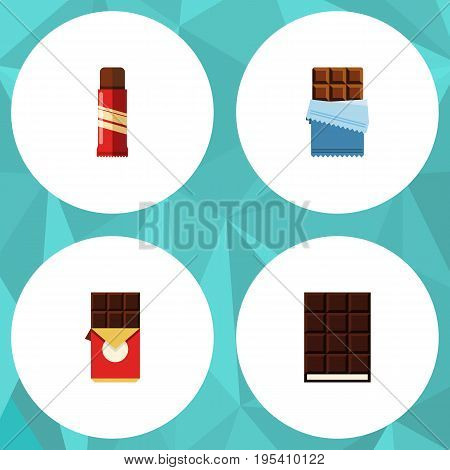 Flat Icon Chocolate Set Of Sweet, Dessert, Bitter And Other Vector Objects. Also Includes Bitter, Sweet, Dessert Elements.