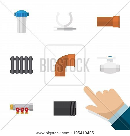 Flat Icon Industry Set Of Cast, Tube, Conduit And Other Vector Objects. Also Includes Plumbing, Water, Thermostat Elements.