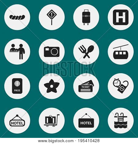Set Of 16 Editable Trip Icons. Includes Symbols Such As Coupon, Citizenship, Welcome Board And More. Can Be Used For Web, Mobile, UI And Infographic Design.