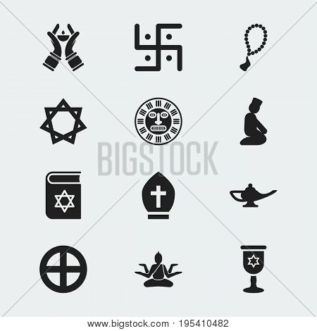 Set Of 12 Editable Dyne Icons. Includes Symbols Such As Plus In Circle, Wineglass, Pope Headwear And More. Can Be Used For Web, Mobile, UI And Infographic Design.