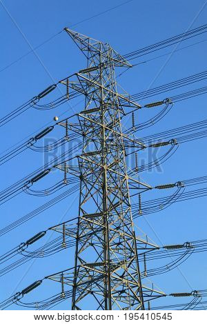 Graphic of Height voltage of electricity post structure with blue sky background Thailand