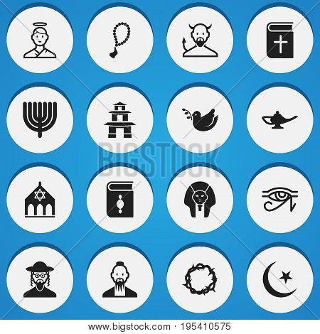 Set Of 16 Editable Dyne Icons. Includes Symbols Such As Mohammedanism, Temple, Christian Book And More. Can Be Used For Web, Mobile, UI And Infographic Design.