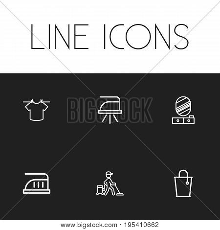 Set Of 6 Editable Cleanup Icons. Includes Symbols Such As Pressboard, Pier Glass, Bucket And More. Can Be Used For Web, Mobile, UI And Infographic Design.
