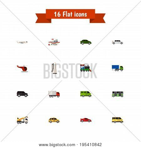 Set Of 16 Editable Car Icons. Includes Symbols Such As Missile, Limousine, Hoisting Machine And More. Can Be Used For Web, Mobile, UI And Infographic Design.