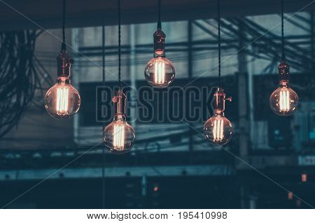 Decoration antique edison led light style filament light bulbs graphic of wire background color Vintage styleThailand