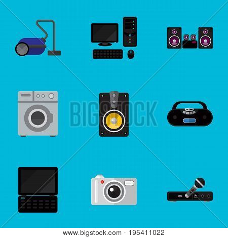 Set Of 9 Editable Home Icons. Includes Symbols Such As Microphone, Stereo System, Laundromat And More. Can Be Used For Web, Mobile, UI And Infographic Design.