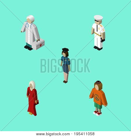 Isometric People Set Of Seaman, Female, Policewoman And Other Vector Objects. Also Includes Woman, Hippie, Officer Elements.