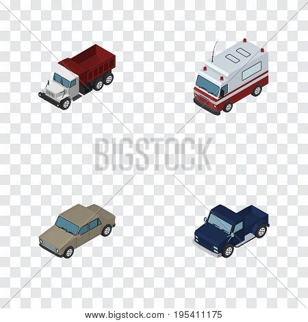 Isometric Transport Set Of Auto, Freight, First-Aid And Other Vector Objects. Also Includes Car, Aid, Pickup Elements.
