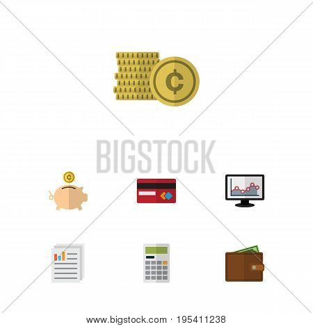 Flat Icon Finance Set Of Billfold, Cash, Calculate And Other Vector Objects. Also Includes Finance, Calculate, Mastercard Elements.