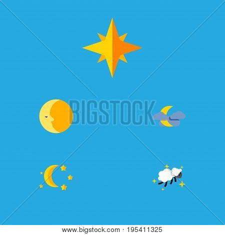 Flat Icon Night Set Of Bedtime, Lunar, Asterisk And Other Vector Objects. Also Includes Twilight, Lunar, Night Elements.