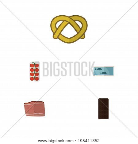 Flat Icon Eating Set Of Tomato, Confection, Cookie And Other Vector Objects. Also Includes Meat, Canned, Beef Elements.