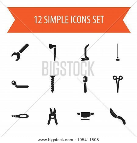 Set Of 12 Editable Instrument Icons. Includes Symbols Such As Pruning Shears, Jimmy, Screw Wrench And More. Can Be Used For Web, Mobile, UI And Infographic Design.